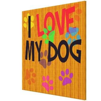 Amo mi lona envuelta perro lienzo envuelto para galerias
