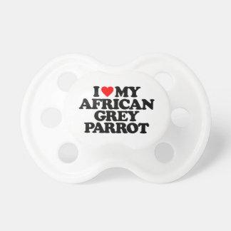 AMO MI LORO DEL GRIS AFRICANO CHUPETES