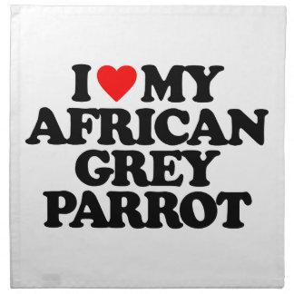 AMO MI LORO DEL GRIS AFRICANO SERVILLETA IMPRIMIDA