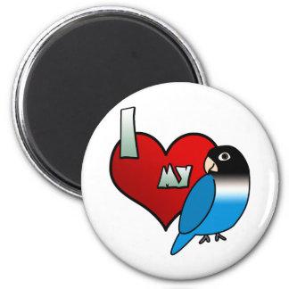 Amo mi Lovebird enmascarado del negro azul Imán Redondo 5 Cm