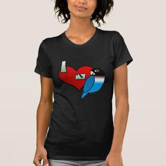 Amo mi Lovebird enmascarado del negro azul Camiseta