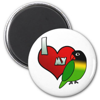 Amo mi Lovebird enmascarado negro Imán Redondo 5 Cm