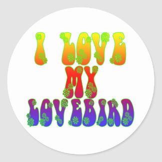 Amo mi Lovebird Pegatina Redonda