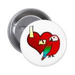 Amo mi Macaw de Greenwing Pin Redondo 5 Cm