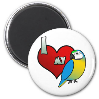 Amo mi Macaw del azul y del oro Imán De Frigorifico