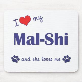 Amo mi Mal-Shi (el perro femenino) Tapetes De Ratones