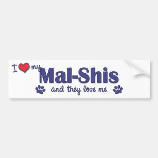 Amo mi Mal-Shis los perros múltiples Etiqueta De Parachoque