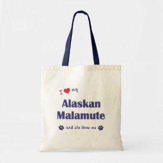 Amo mi Malamute de Alaska (el perro femenino) Bolsas De Mano