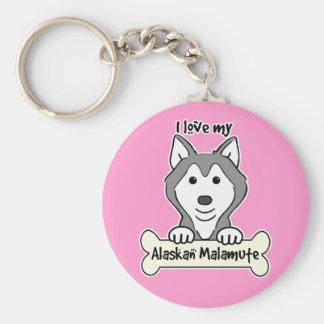 Amo mi Malamute de Alaska Llavero Redondo Tipo Pin