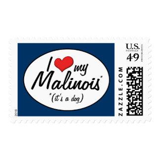 Amo mi Malinois (es un perro) Estampillas