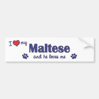 Amo mi maltés (el perro masculino) pegatina para auto