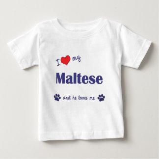 Amo mi maltés (el perro masculino) playera de bebé
