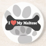 Amo mi maltés - hueso de perro posavaso para bebida