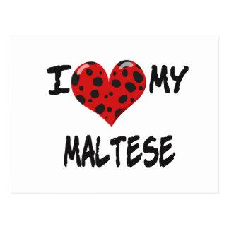 Amo mi maltés tarjetas postales