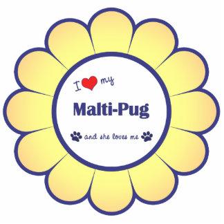 Amo mi Malti-Barro amasado (el perro femenino) Adorno Fotoescultura