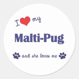 Amo mi Malti-Barro amasado (el perro femenino) Pegatina Redonda