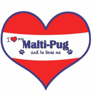 Amo mi Malti-Barro amasado (el perro masculino) Adorno Fotoescultura