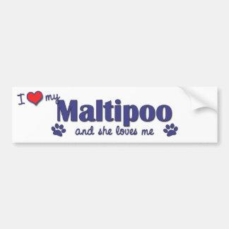 Amo mi Maltipoo (el perro femenino) Etiqueta De Parachoque