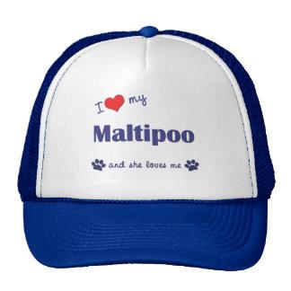 Amo mi Maltipoo (el perro femenino) Gorros Bordados