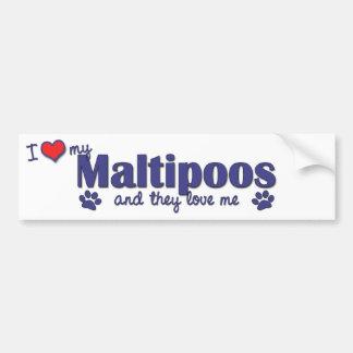 Amo mi Maltipoos (los perros múltiples) Pegatina De Parachoque