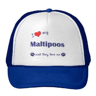 Amo mi Maltipoos (los perros múltiples) Gorros Bordados