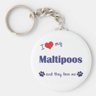 Amo mi Maltipoos (los perros múltiples) Llavero Redondo Tipo Pin