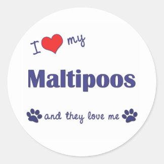 Amo mi Maltipoos (los perros múltiples) Pegatina Redonda