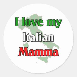 Amo mi mama italiana etiqueta redonda