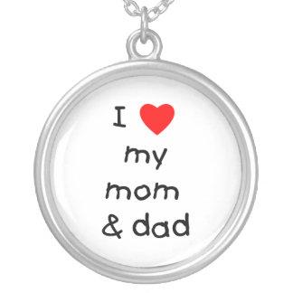 Amo mi mamá y papá colgante redondo