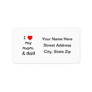 Amo mi mamá y papá etiqueta de dirección