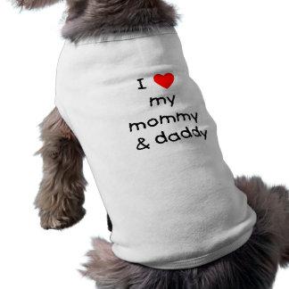 Amo mi mamá y papá playera sin mangas para perro
