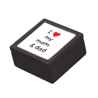 Amo mi mamá y papá caja de joyas de calidad