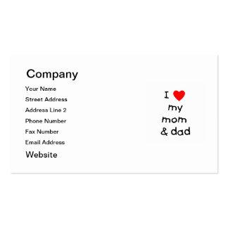 Amo mi mamá y papá tarjetas de visita