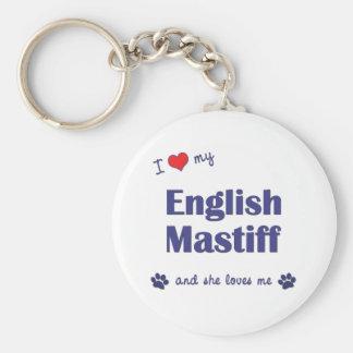 Amo mi mastín inglés (el perro femenino) llavero redondo tipo pin
