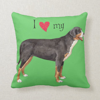 Amo mi mayor perro suizo de la montaña almohadas