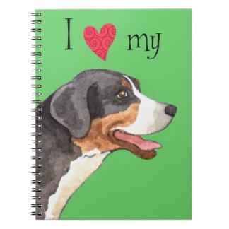 Amo mi mayor perro suizo de la montaña cuaderno