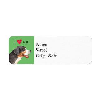 Amo mi mayor perro suizo de la montaña etiqueta de remitente