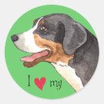 Amo mi mayor perro suizo de la montaña etiquetas redondas