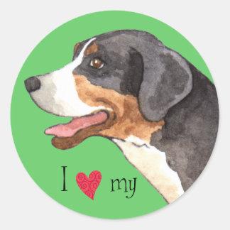 Amo mi mayor perro suizo de la montaña pegatina redonda