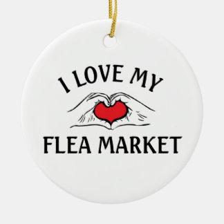 Amo mi mercado de pulgas adorno redondo de cerámica