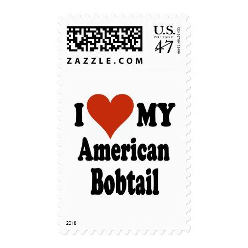 Amo mi mercancía Bobtail americana del gato Sello Postal