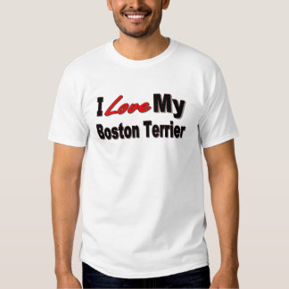 Amo mi mercancía de Boston Terrier Remeras