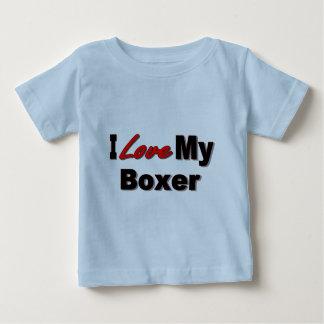 Amo mi mercancía del amante del perro del boxeador playera de bebé