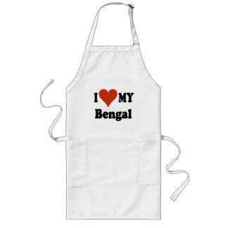 Amo mi mercancía del gato de Bengala Delantal Largo