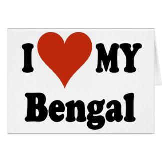 Amo mi mercancía del gato de Bengala Tarjetas