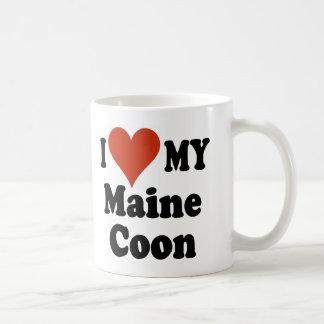 Amo mi mercancía del gato de Coon de Maine Taza De Café