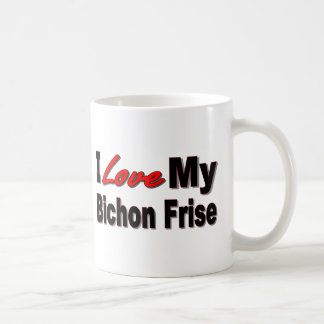 Amo mi mercancía del perro de Bichon Frise Taza Clásica