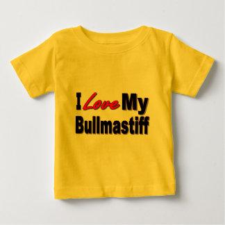 Amo mi mercancía del perro de Bullmastiff Playera De Bebé