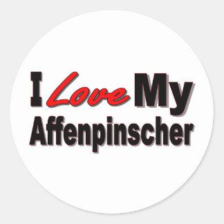 Amo mi mercancía del perro del Affenpinscher Etiquetas Redondas