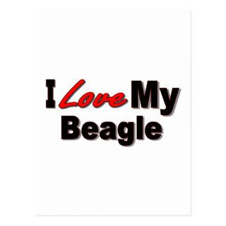 Amo mi mercancía del perro del beagle tarjeta postal